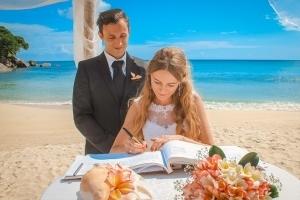 Hochzeit an der Anse Louise offizieller Teil