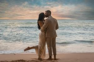 Hochzeitsfoto North East Point Brautpaar mit Sonnenuntergang