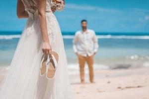 Hochzeitsfoto Glacis Braut warter auf Bräutigam