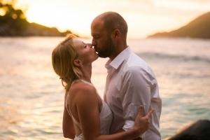 Seychellen Hochzeitsfoto Sonnenuntergang
