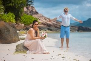 Hochzeit Anse Severe La Digue, Brautpaar Portrait