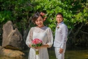 Strandhochzeit Bel Ombre Brautpaar Foto