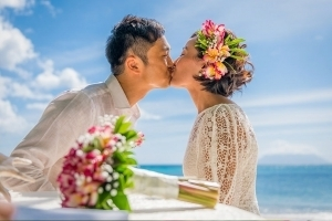 Hochzeit Bel Ombre erster Kuss