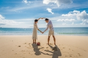 Strandhochzeit Bel Ombre Love Symbol