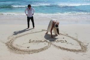 Hochzeit Baie Lazare Herz im Sand