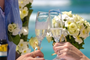 Hochzeit Silhouette Glas Champagner