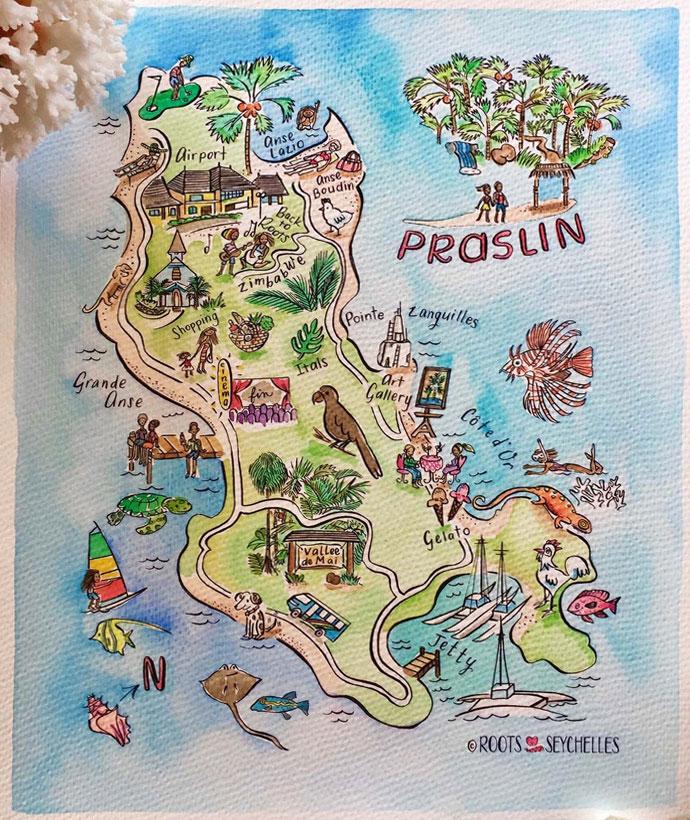 Karte Praslin